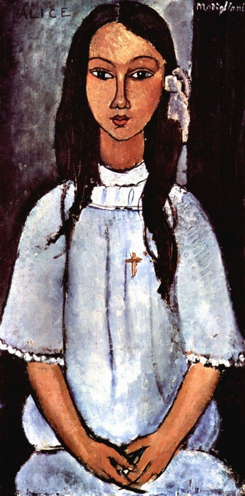 100% Hand Painted Oil on Canvas - Modigliani - Alice - 24x36 Inch