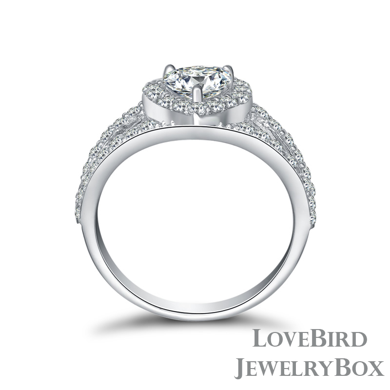 0.75 ct Heart Halo Split Surface Prong  925 Sterling Silver CZ Engagement Ring