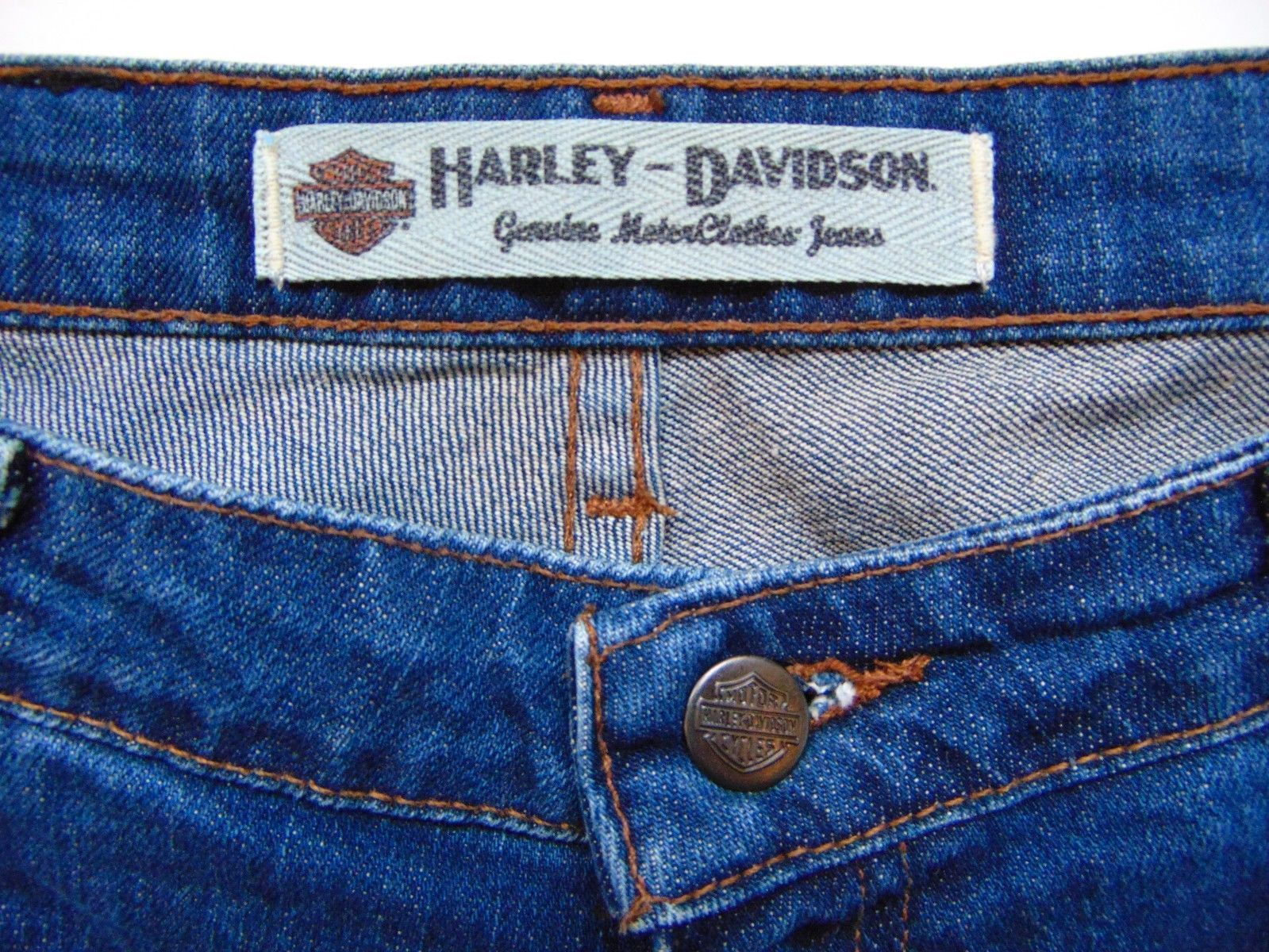 HARLEY DAVIDSON BLUE JEAN PANTS Women Size 6R Classic Cut Fit 30W x 32L