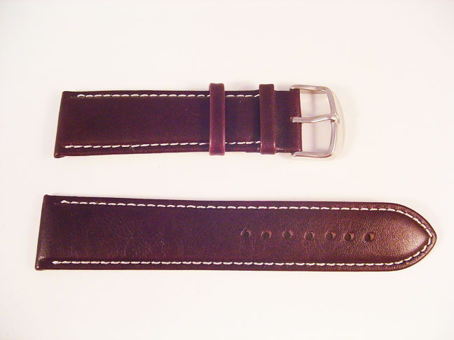NEW!! QUALITY LEATHER BROWN WATCH BAND 22MM STRAP S24