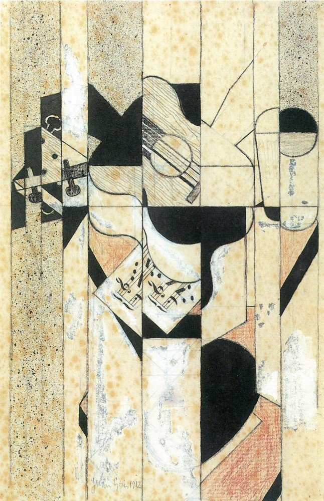 100% Hand Painted Oil on Canvas - Guitar and glass by Juan Gris - 24x36 Inch
