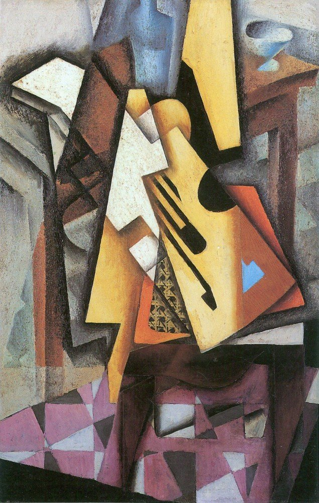 100% Hand Painted Oil on Canvas - Guitar and stool by Juan Gris - 24x36 Inch