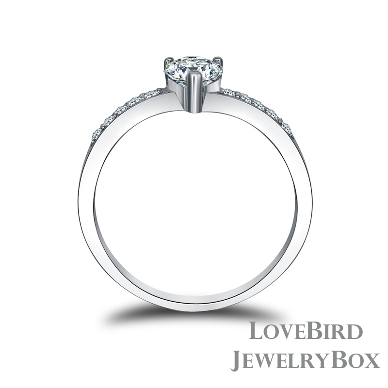 0.5 ct. Heart Cut Channel Set 925 Sterling Silver Cubic Zirconia Engagement Ring