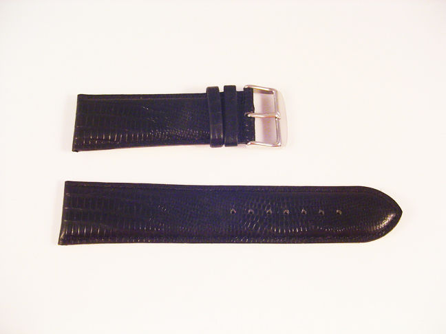 New Mens Watch Strap LEATHER BLACK SNAKE Style Cushioned Padded Band 26mm S56