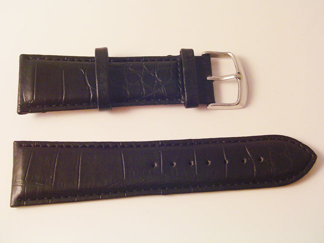 Primary image for EX WIDE LEATHER BLACK CROC WATCH BAND 26MM STRAP S45B