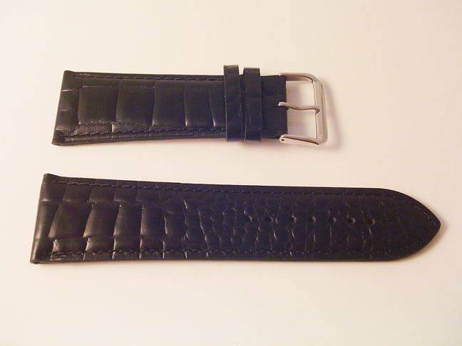 EX WIDE LEATHER BLACK CROC WATCH BAND 30MM STRAP S47B