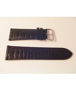 EX WIDE LEATHER BLACK CROC WATCH BAND 30MM STRAP S47B - $12.52