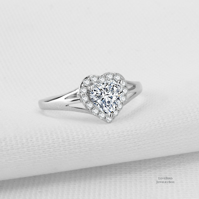 0.75 ct. Heart Cut Halo Split 925 Sterling Silver Cubic Zirconia Engagement Ring