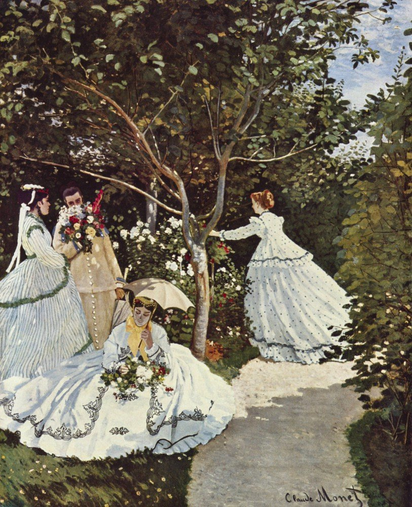 100% Hand Painted Oil on Canvas - Women in the Garden by Monet - 24x36 Inch
