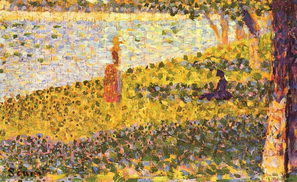 100% Hand Painted Oil on Canvas - Women on the shore by Seurat - 24x36 Inch