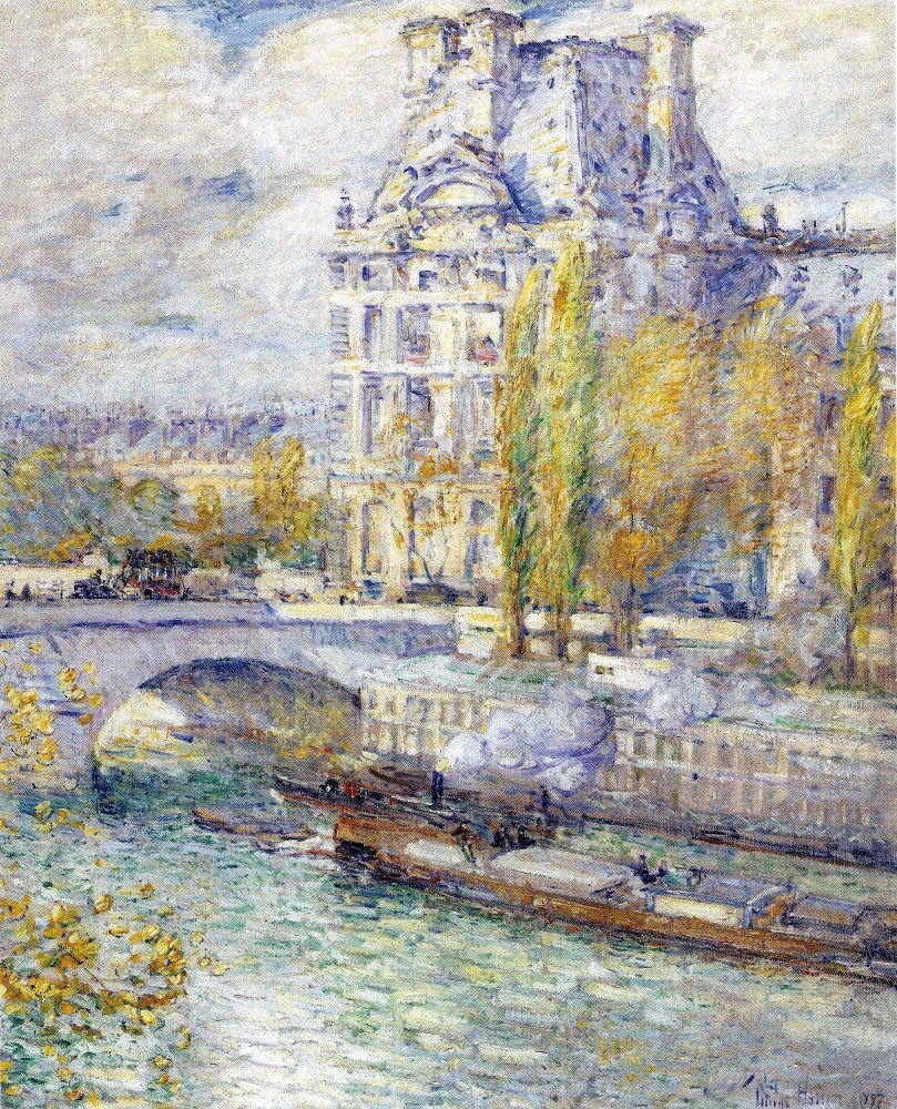 100% Hand Painted Oil on Canvas - The Louvre on Pont Royal by Hassam - 20x24 ...