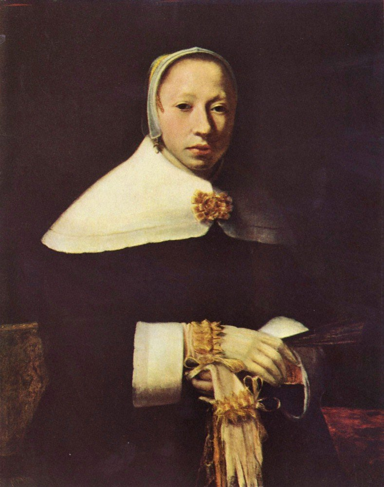 100% Hand Painted Oil on Canvas - Women's portrait by Vermeer - 24x36 Inch