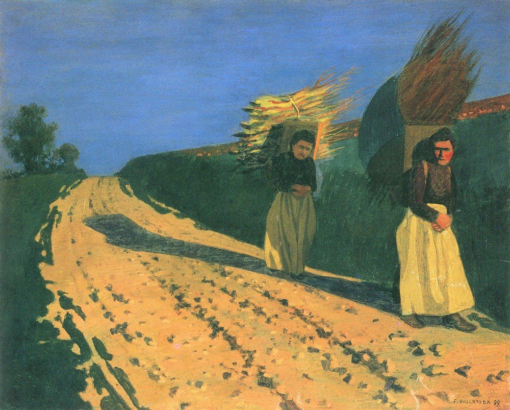 100% Hand Painted Oil on Canvas - Wood-bearing women by Felix Vallotton - 24x...