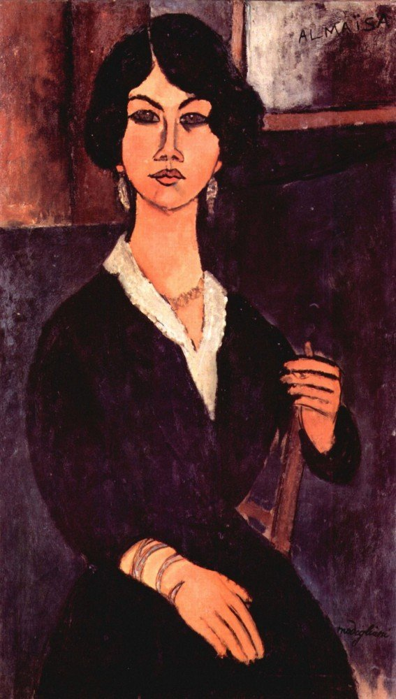 100% Hand Painted Oil on Canvas - Modigliani - Portrait of a sitting woman - ...