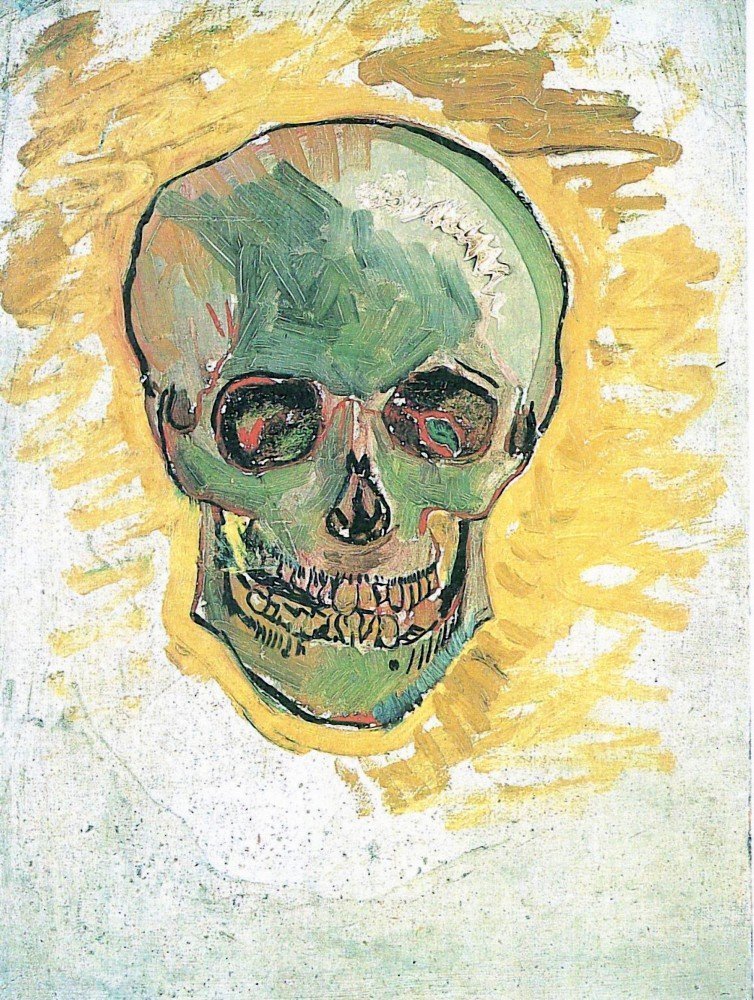 100% Hand Painted Oil on Canvas - Skull by Van Gogh - 24x36 Inch