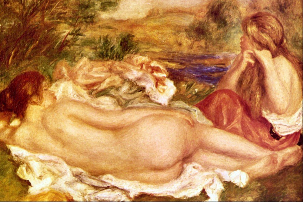 100% Hand Painted Oil on Canvas - Two Bathers by Renoir - 24x36 Inch