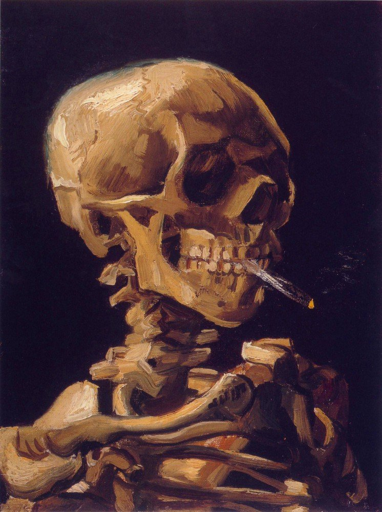100% Hand Painted Oil on Canvas - Skull with a Burning Cigarette by Van Gogh ...