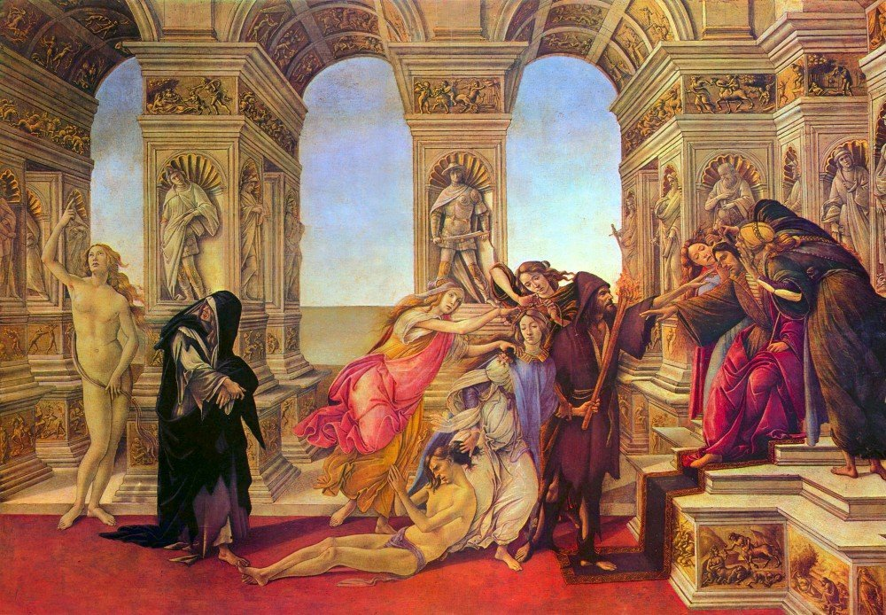 100% Hand Painted Oil on Canvas - Slander by Botticelli - 24x36 Inch