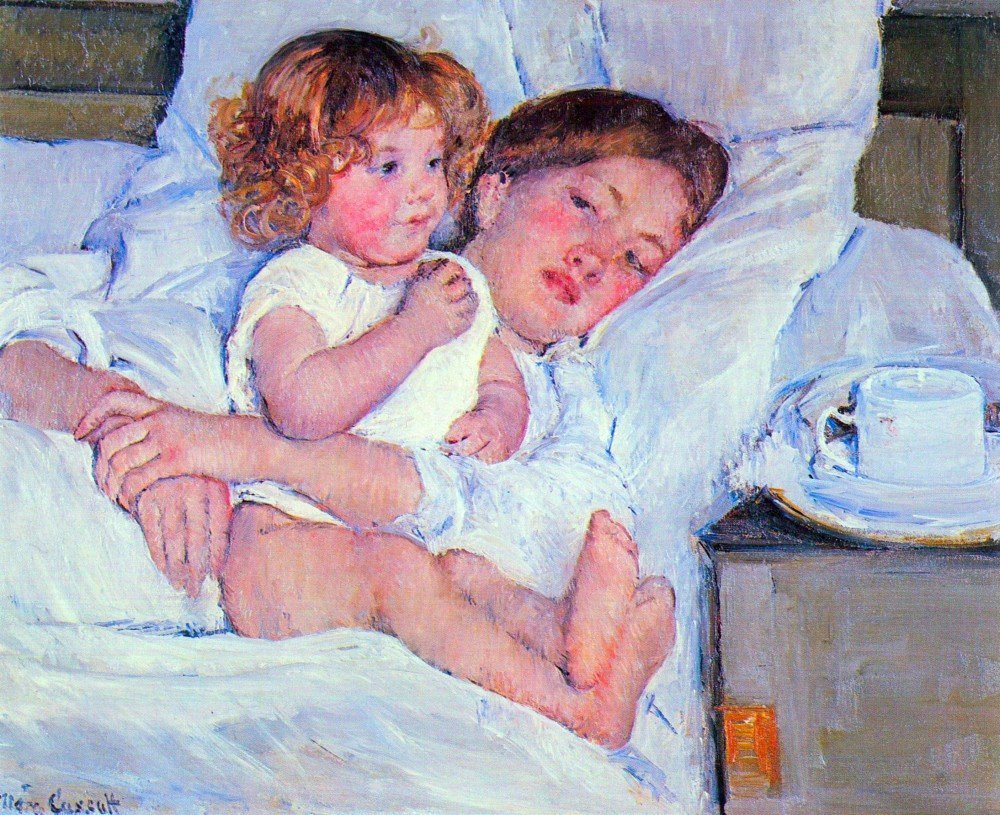 100% Hand Painted Oil on Canvas - Breakfast in bed by Cassatt - 24x36 Inch