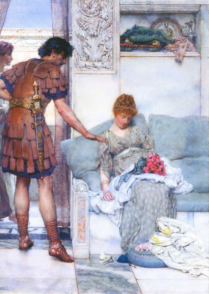 100% Hand Painted Oil on Canvas - A quiet greeting by Alma-Tadema - 24x36 Inch