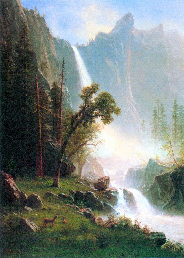 100% Hand Painted Oil on Canvas - Yosemite Falls by Bierstadt - 24x36 Inch