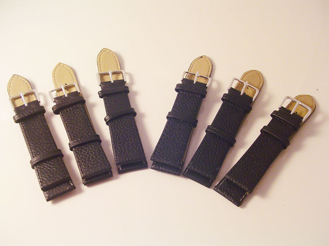 6X QUALITY LEATHER BLACK WATCH BANDS 22MM STRAPS AT WHOLESALE PRICES! S72