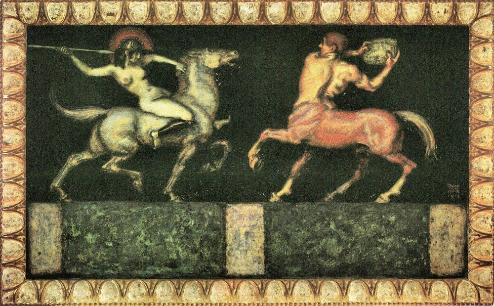 100% Hand Painted Oil on Canvas - Amazon and the Centaur by Franz von Stuck -...