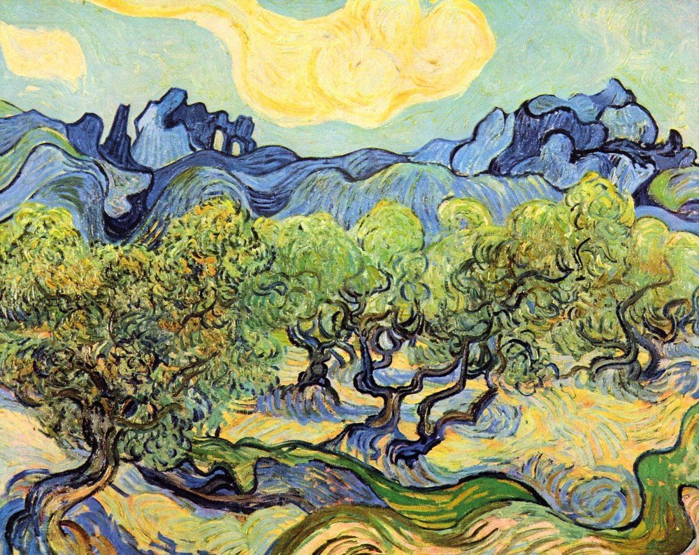 100% Hand Painted Oil on Canvas - Landscape with olive Trees by Van Gogh - 24...