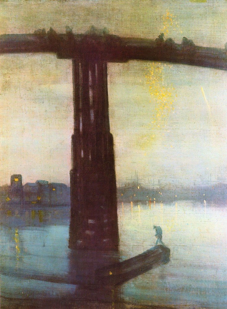 100% Hand Painted Oil on Canvas - The old Battersea Bridge by James Abbot McN...