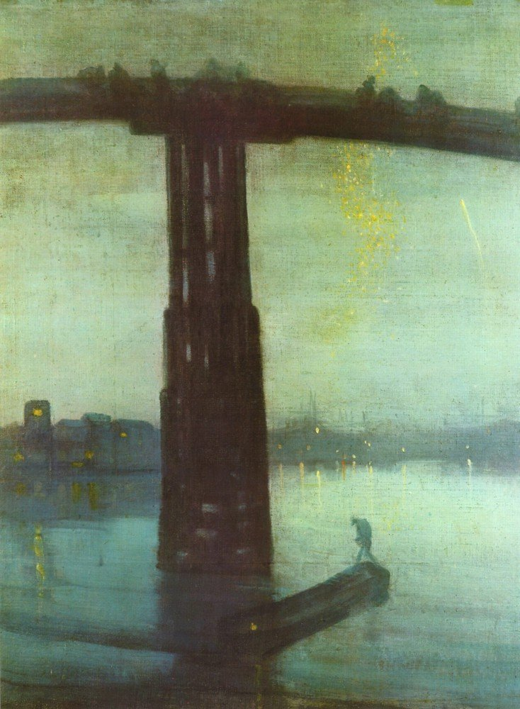 100% Hand Painted Oil on Canvas - The old Battersea bridge by Whistler - 24x3...