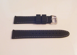 Watch black sports fashion strap band White stitching stainless steel buckle S43 - $15.92