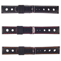 Rally Watch Strap Racing Black Silicone 20mm Band White, Red, Orange Sti... - $12.58