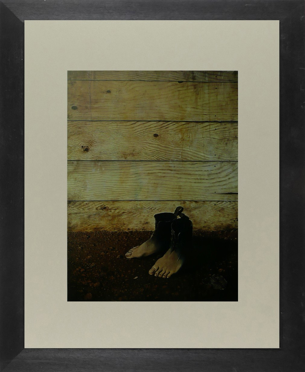 The Red Model - (Feet in front of boarding) - (2) - Ren Magritte - Framed Pictur