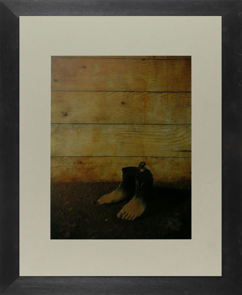 The Red Model - (Feet in front of boarding) - (1) - Ren Magritte - Framed Pictur