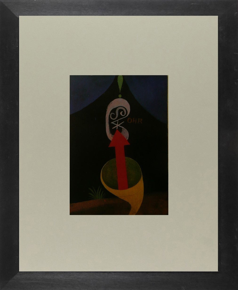 Roll of sound - (Red arrow emerging from horn) - (Bauhaus) - Framed Picture 11 x