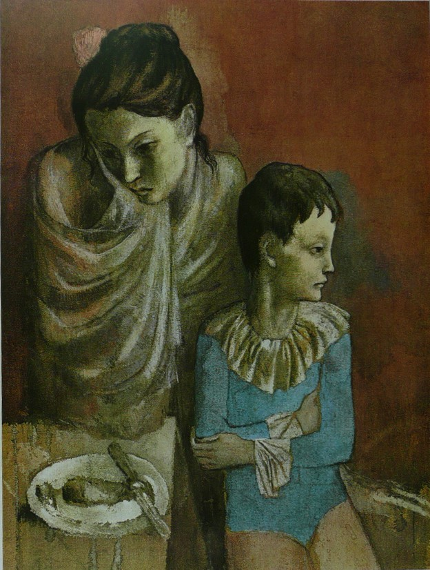 Les Baladins - (Mother and Child at table) - Picasso - Framed Picture 11 x 14