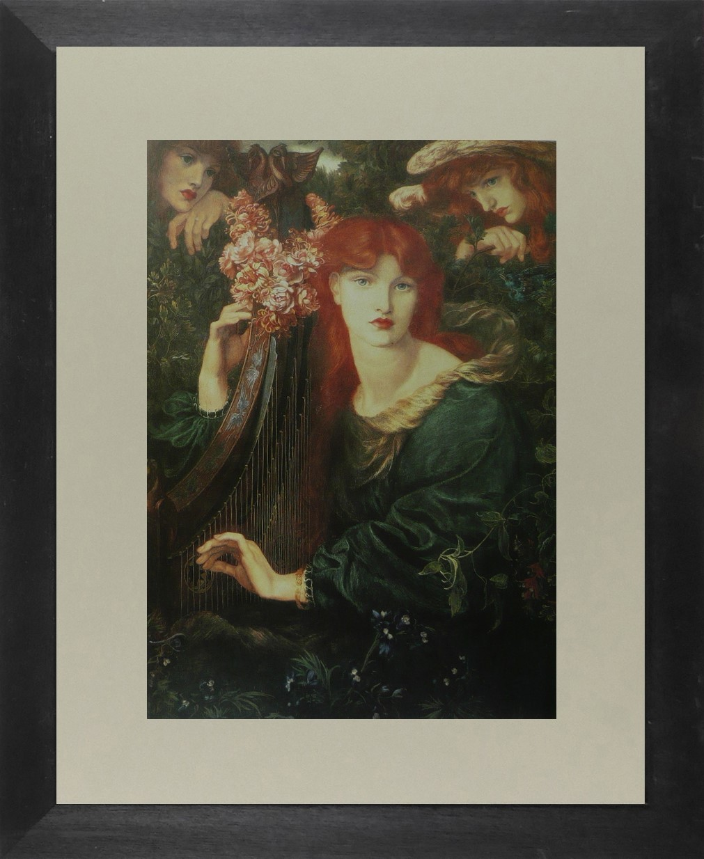 The Garland - (Woman playing a Harp) - Dante Gabriel Rossetti - Framed Picture 1