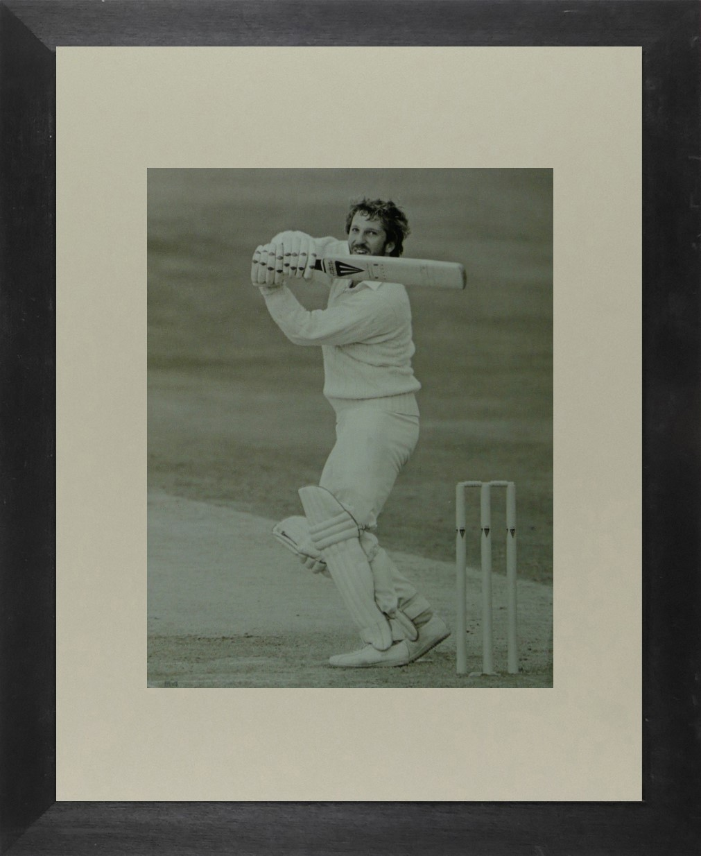 Ian Botham in front of wicket (Cricket) - Framed Picture 11 x 14