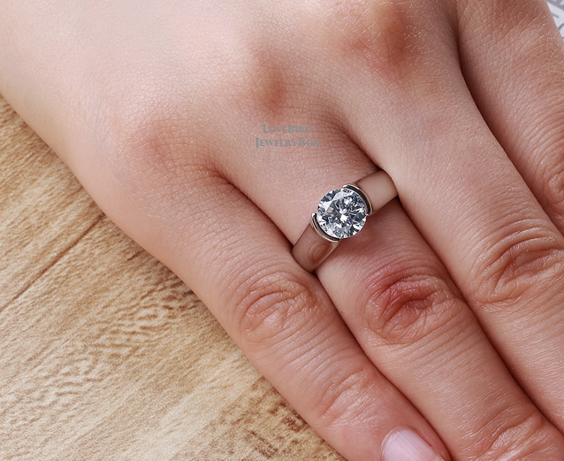 2 ct. Round Cut 925 Sterling Silver Cubic Zirconia Half Bezel Engagement Ring