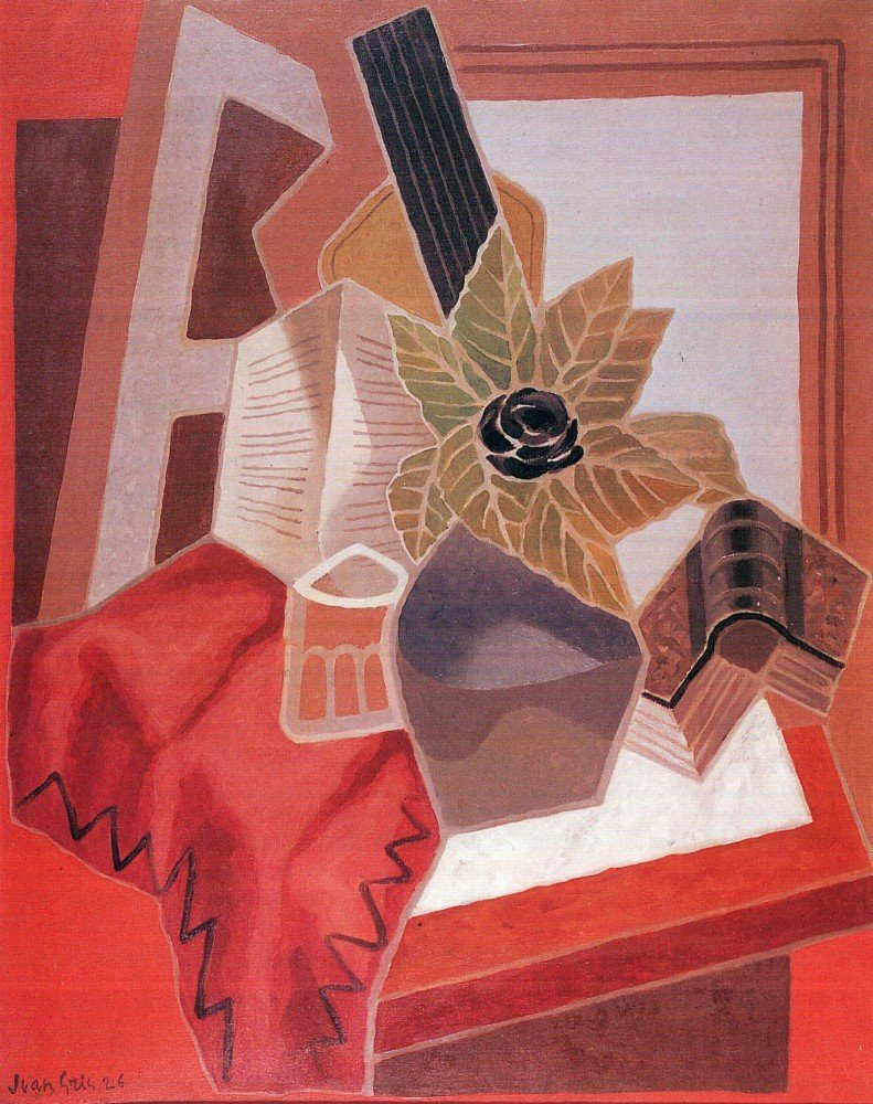 100% Hand Painted Oil on Canvas - Flowers on the table by Juan Gris - 30x40 Inch