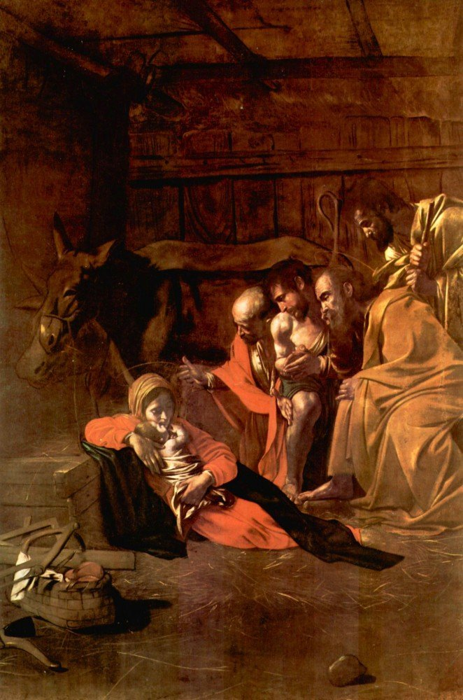 100% Hand Painted Oil on Canvas - Adoration of the Shepherds by Caravaggio - ...