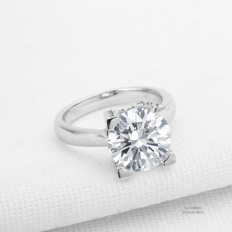 4.1ct Round Cut 925 Sterling Silver Cubic Zirconia Bridge Accent Engagement Ring