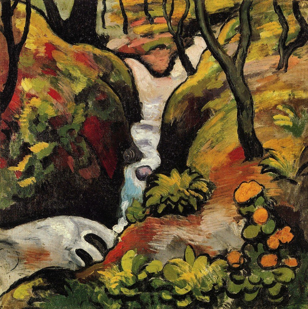 100% Hand Painted Oil on Canvas - Forest Brook by August Macke - 30x40 Inch