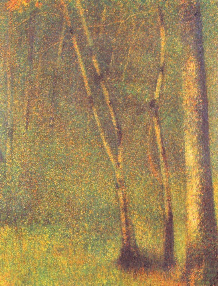 100% Hand Painted Oil on Canvas - Forest in Pontaubert by Seurat - 30x40 Inch