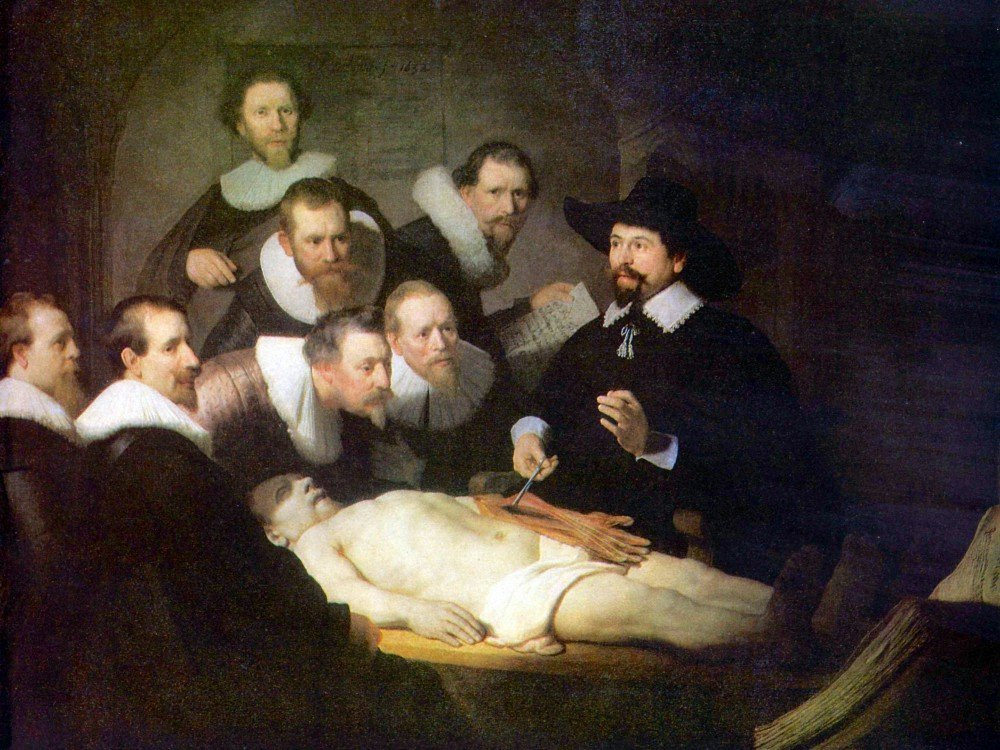 100% Hand Painted Oil on Canvas - Anatomy of Dr. Tulp by Rembrandt - 30x40 Inch