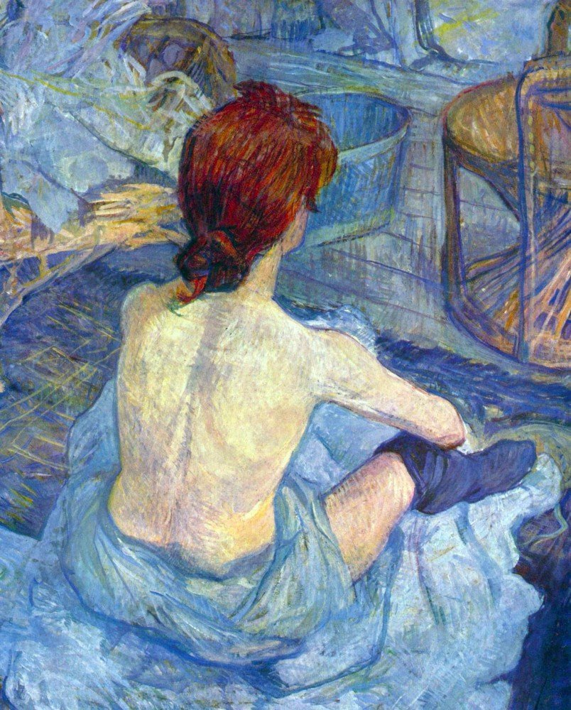 100% Hand Painted Oil on Canvas - Rousse the Toilet by Toulouse-Lautrec - 30x...