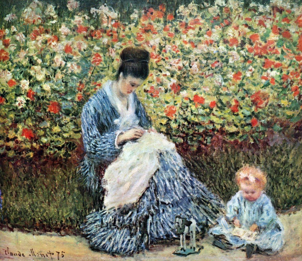 100% Hand Painted Oil on Canvas - Madame Monet and child by Monet - 30x40 Inch