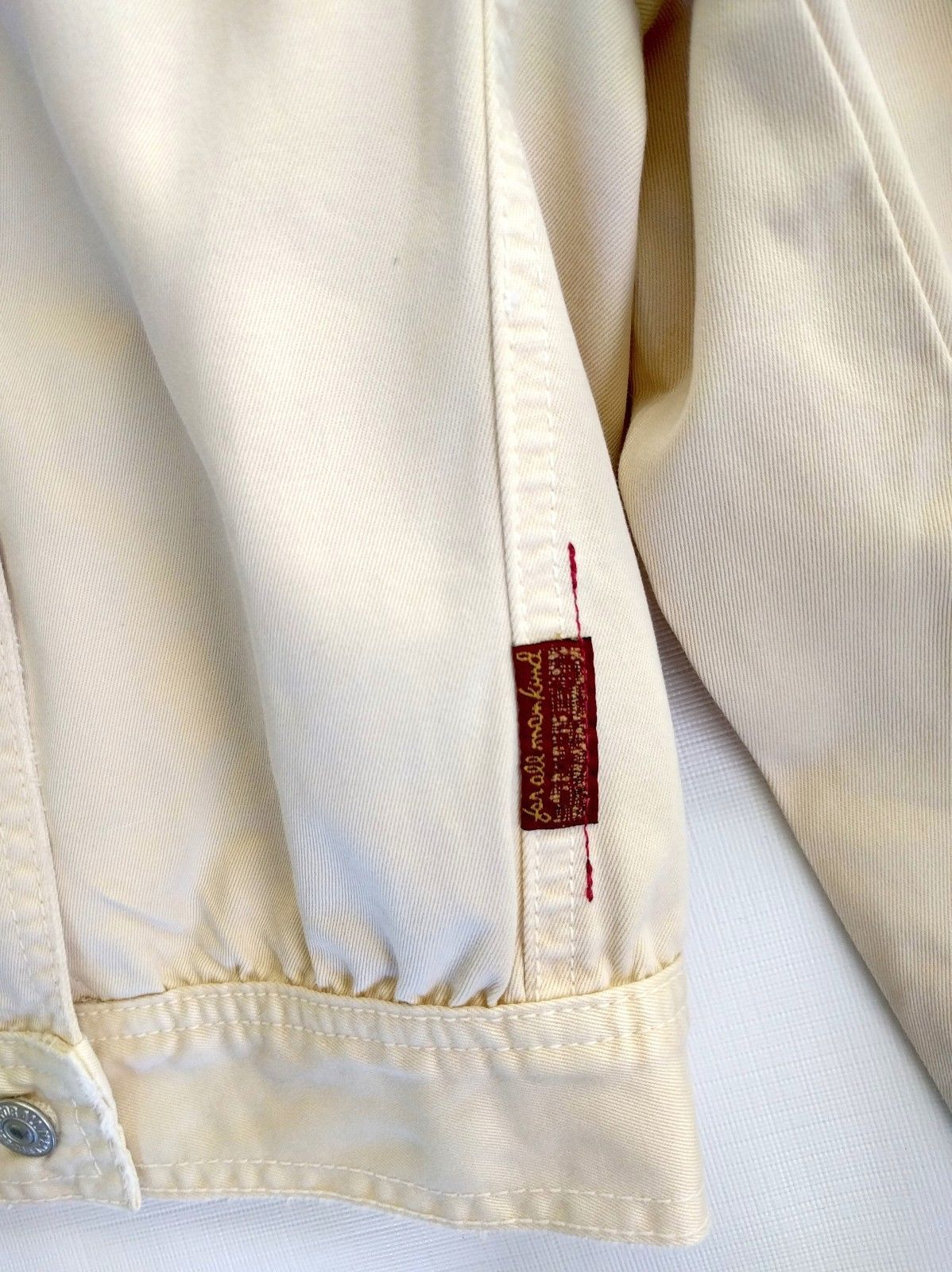 7 Seven For All Mankind M Cream Cropped Denim Womens Jacket Double Breasted