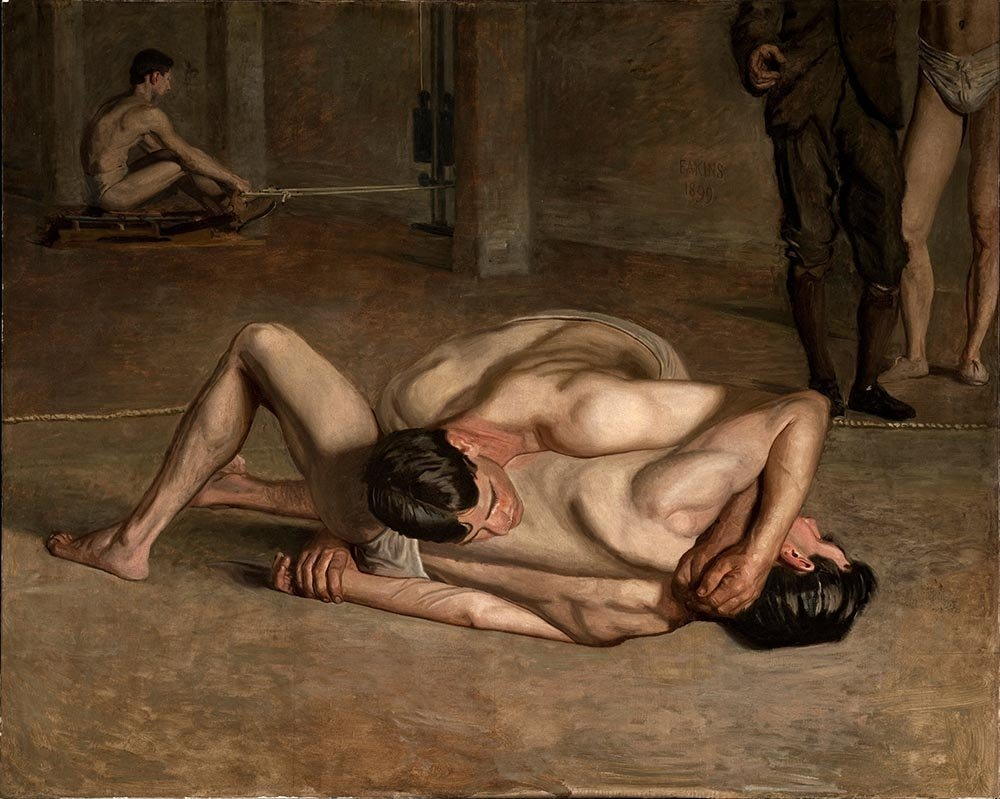 100% Hand Painted Oil on Canvas - Thomas Eakins - Wrestlers - 24x36 Inch