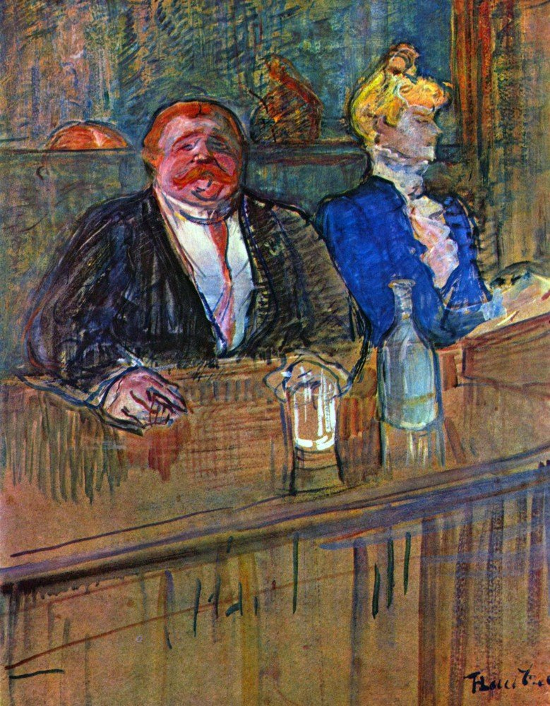 100% Hand Painted Oil on Canvas - The bar by Toulouse-Lautrec - 24x36 Inch